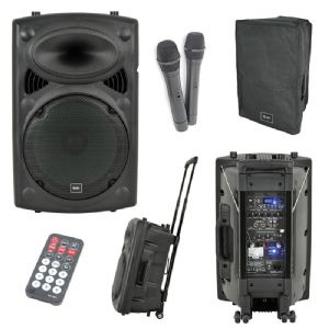 QTX QR15PA PA Dj Active Speaker + Usb Sd 2 Radio Mics Battery Mains 250W + Cover
